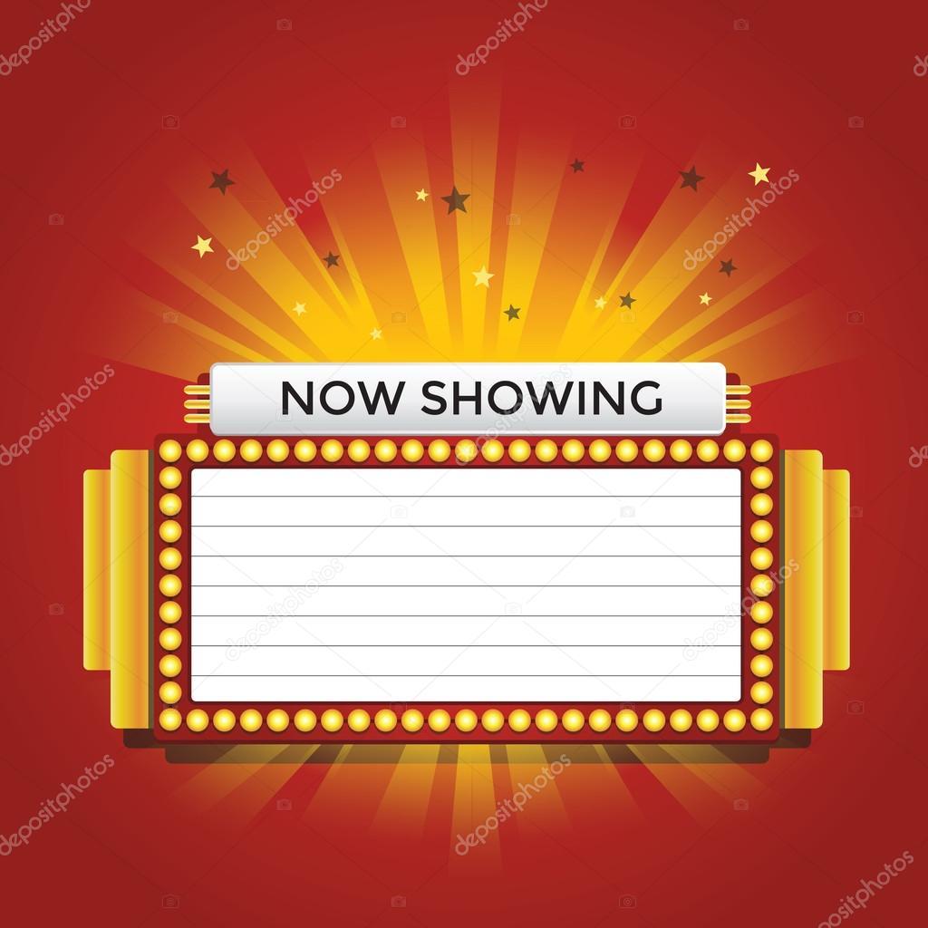 Now Showing Retro Cinema Neon Sign Vector Stock Vector