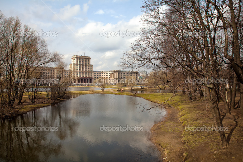 Lefortovo Park. View of Bauman Moscow state technical University. Moscow. Russia
