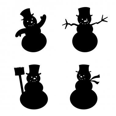 Group of Snowman silhouette
