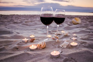 Romantic evening with glass of wine