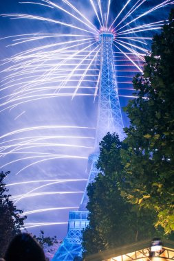 Famous fireworks near Eiffel Tower