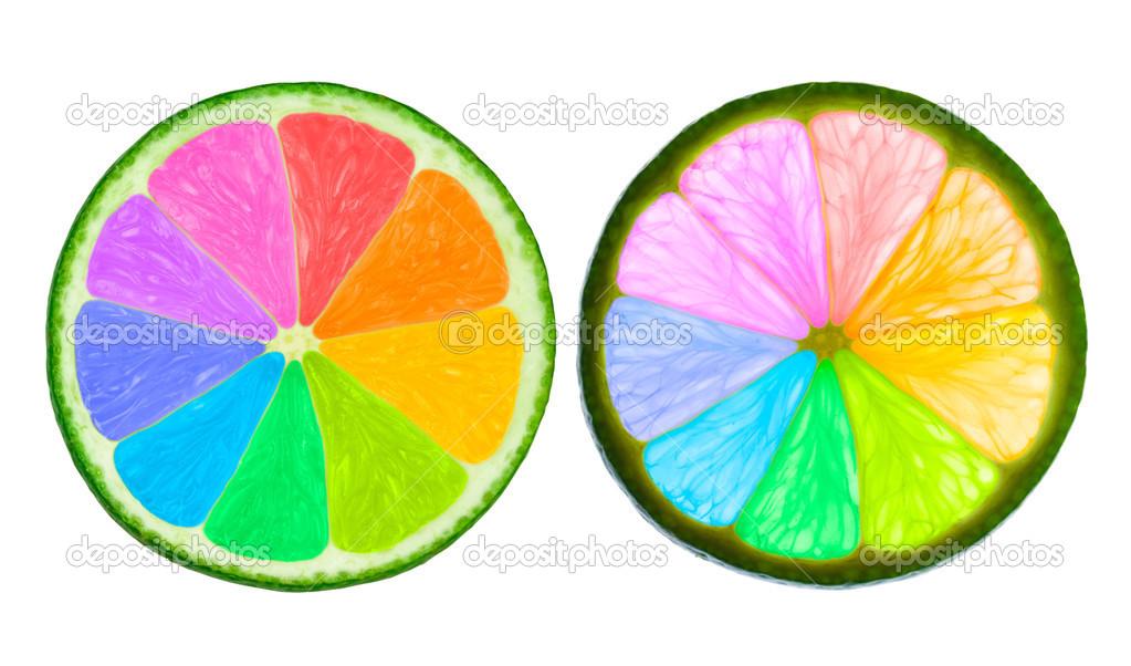 Tranche De Lime Dans Le Cercle Chromatique Photographie Mvw At Tutby