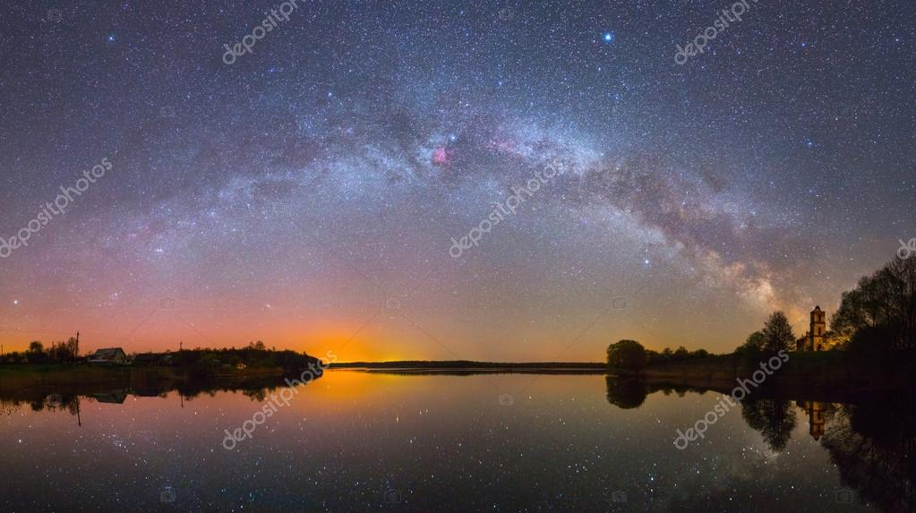 Milky Way over the lake at night