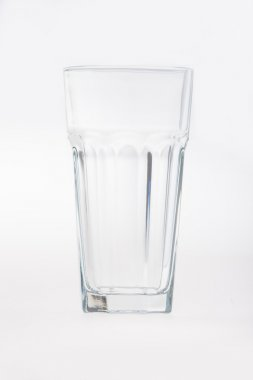 Faceted drinking empty glass cup