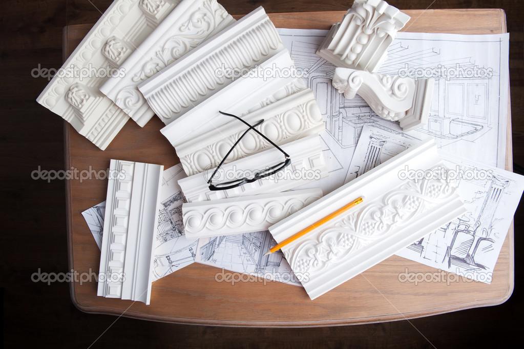 Brille, Bleistift, Konstruktionszeichnung a und weißen Stuck Guß ...