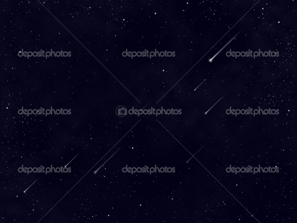 Space with stars and meteorites