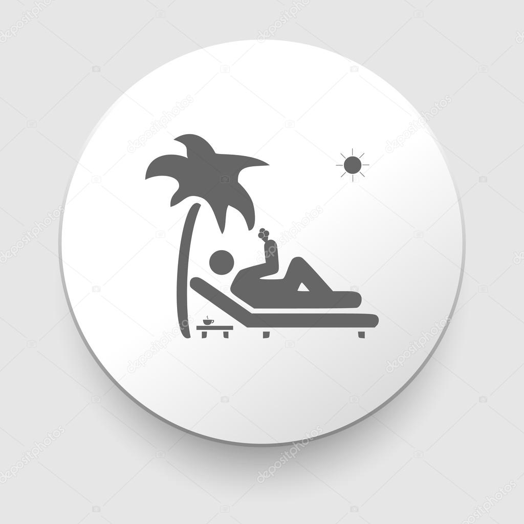 Vector icon illustration showing a man relaxing