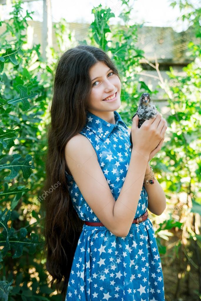 Can cute teen girl in farm accept