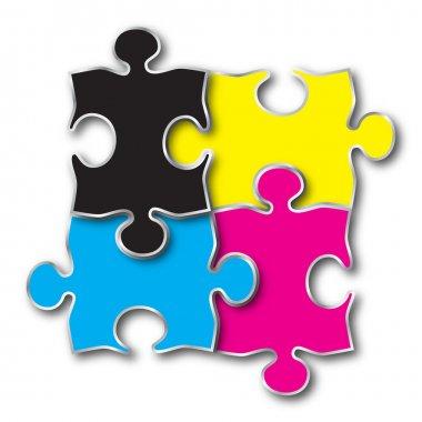 CMYK puzzle jigsaw pieces