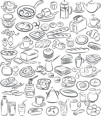 Vector illustration of breakfast collection in black and white stock vector