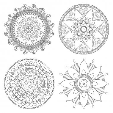 Set of vector flower ornaments
