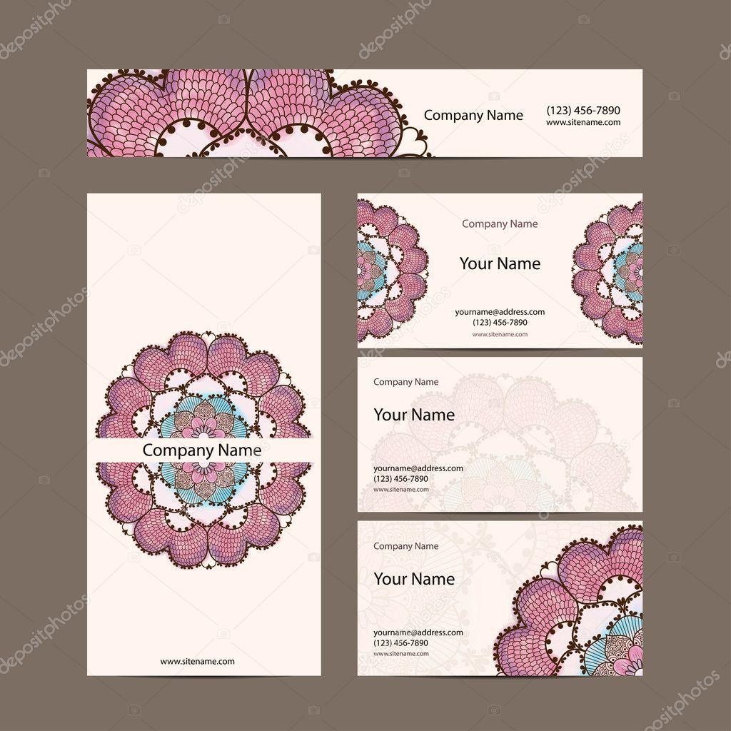 Business Cards Collection Delicate Floral Pattern Vector Background Card Or Invitation Vintage