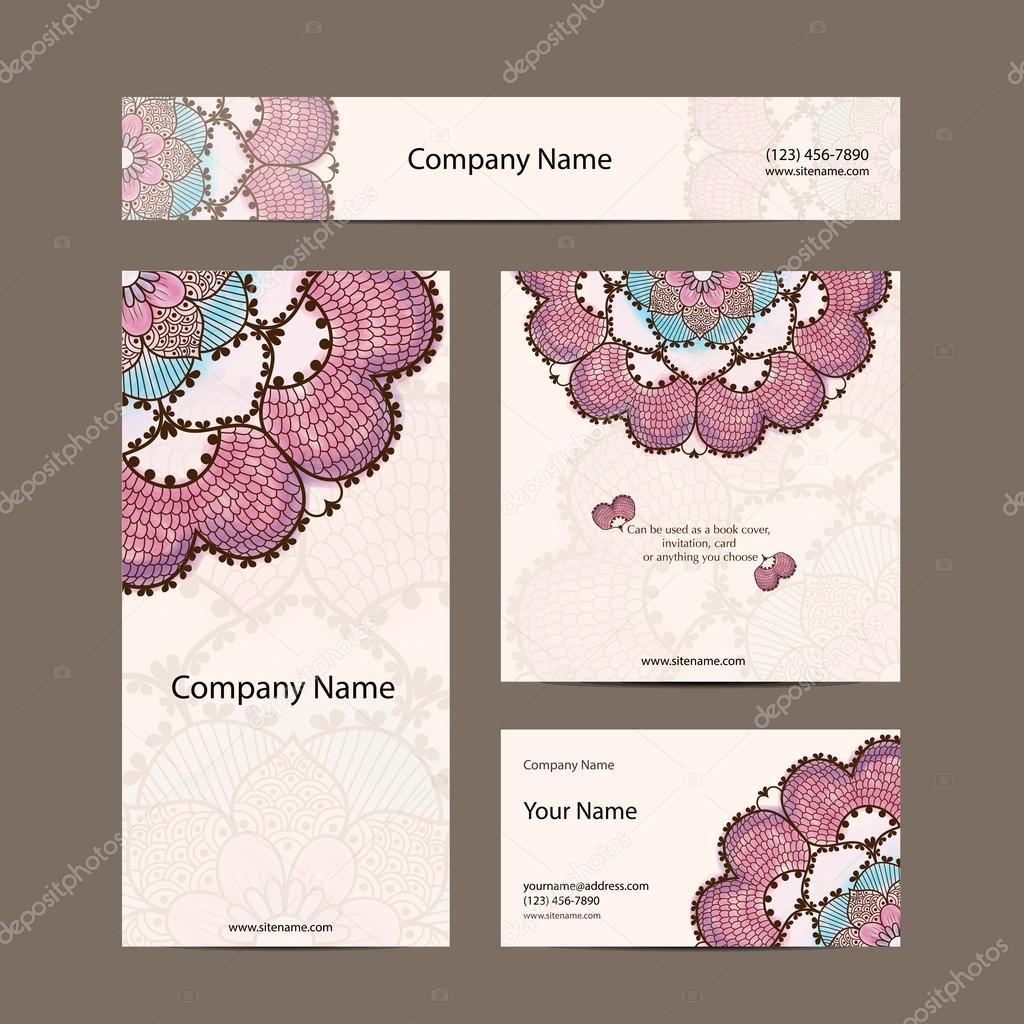 e923d963f0a50 collection de cartes de visite, délicat motif floral. fond de ...