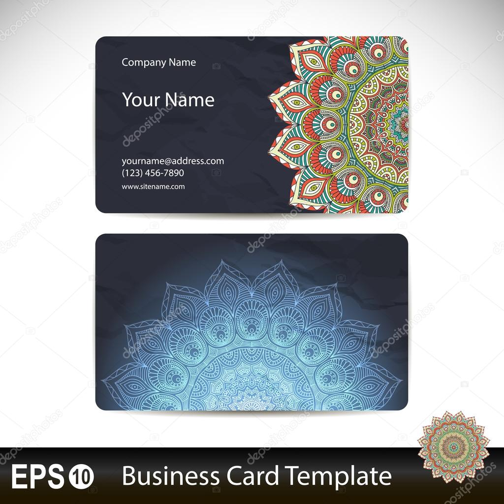Set Retro Business Card Vector Background Card Or