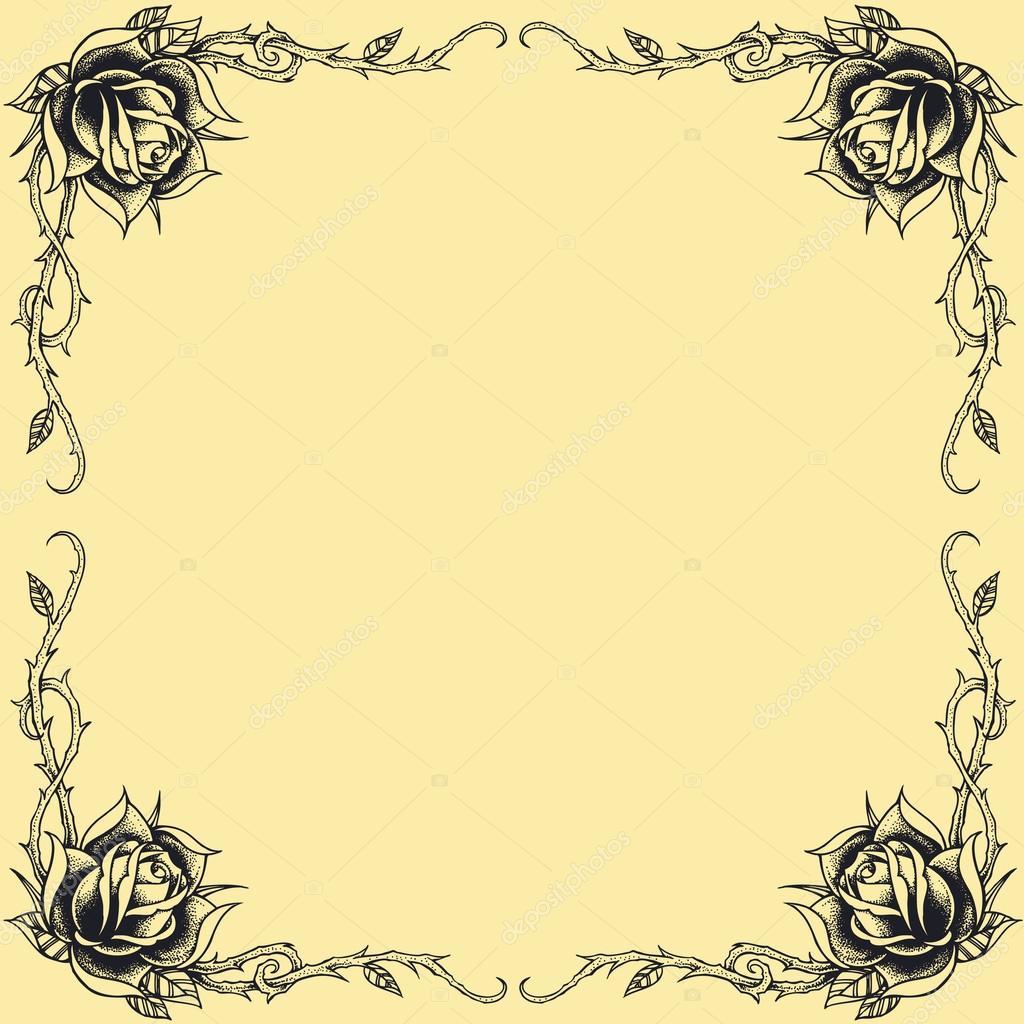 rosas marco estilo tatuaje oldskool — Archivo Imágenes Vectoriales ...