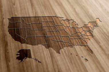 USA Map on Wood