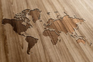 World Map on Wood