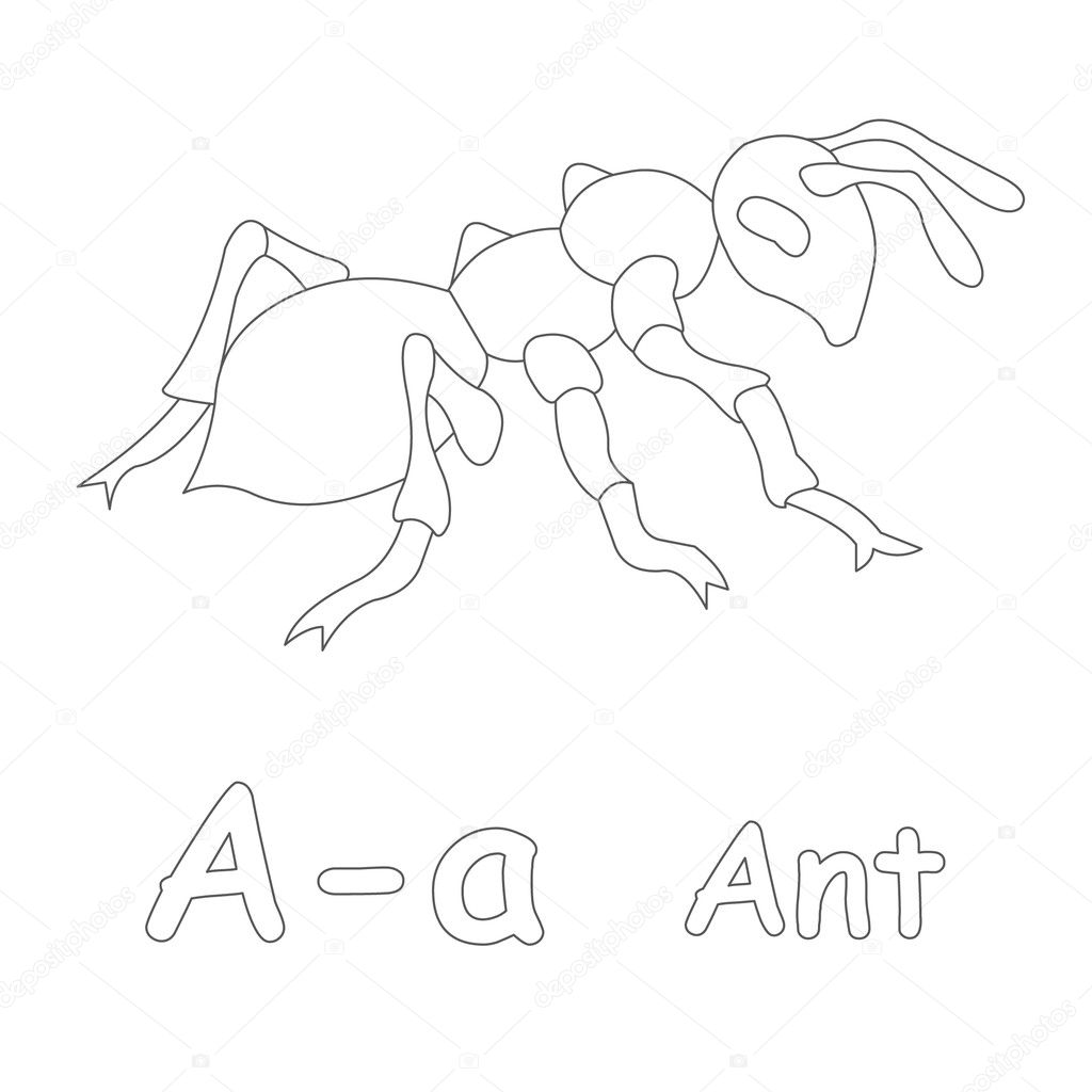 A for Ant Coloring Page — Stock Photo © Art1o1 #44628255