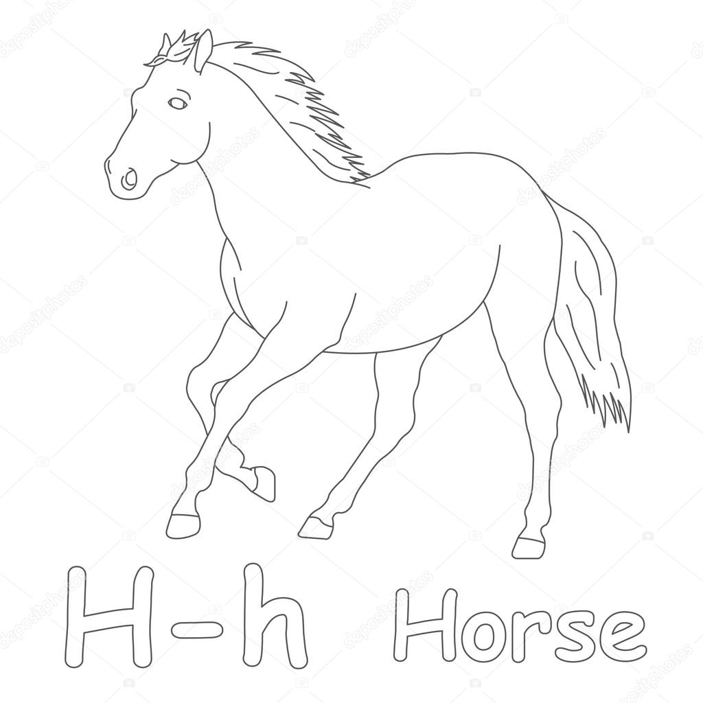 h for horse coloring page u2014 stock photo art1o1 44628283