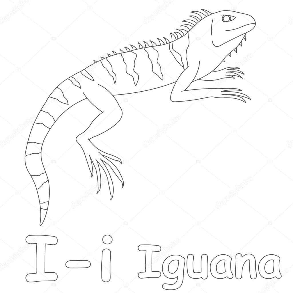 depositphotos stock photo i for iguana coloring page