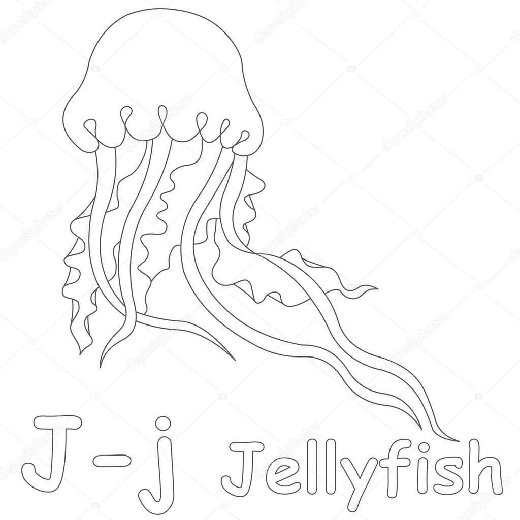 j de medusas para colorear página — Foto de stock © Art1o1 #44628291