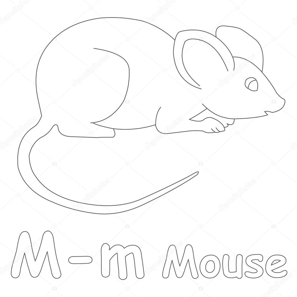 m for mouse coloring page u2014 stock photo art1o1 44628303