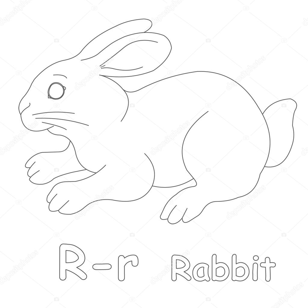 r for rabbit coloring page u2014 stock photo art1o1 44628331