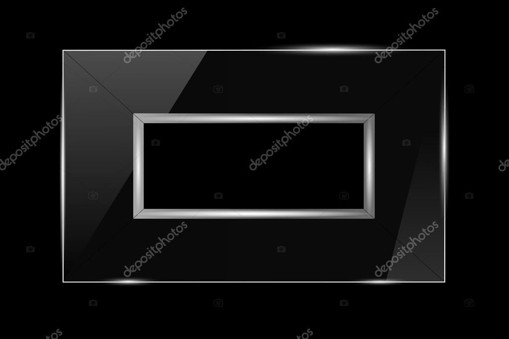 marco de cristal con recorte en un fondo negro plata — Archivo ...