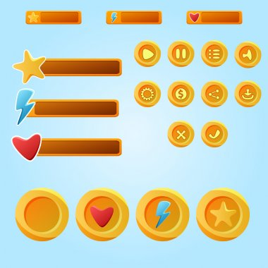 Bright yellow mobile elements For Ui Game - a set game developme