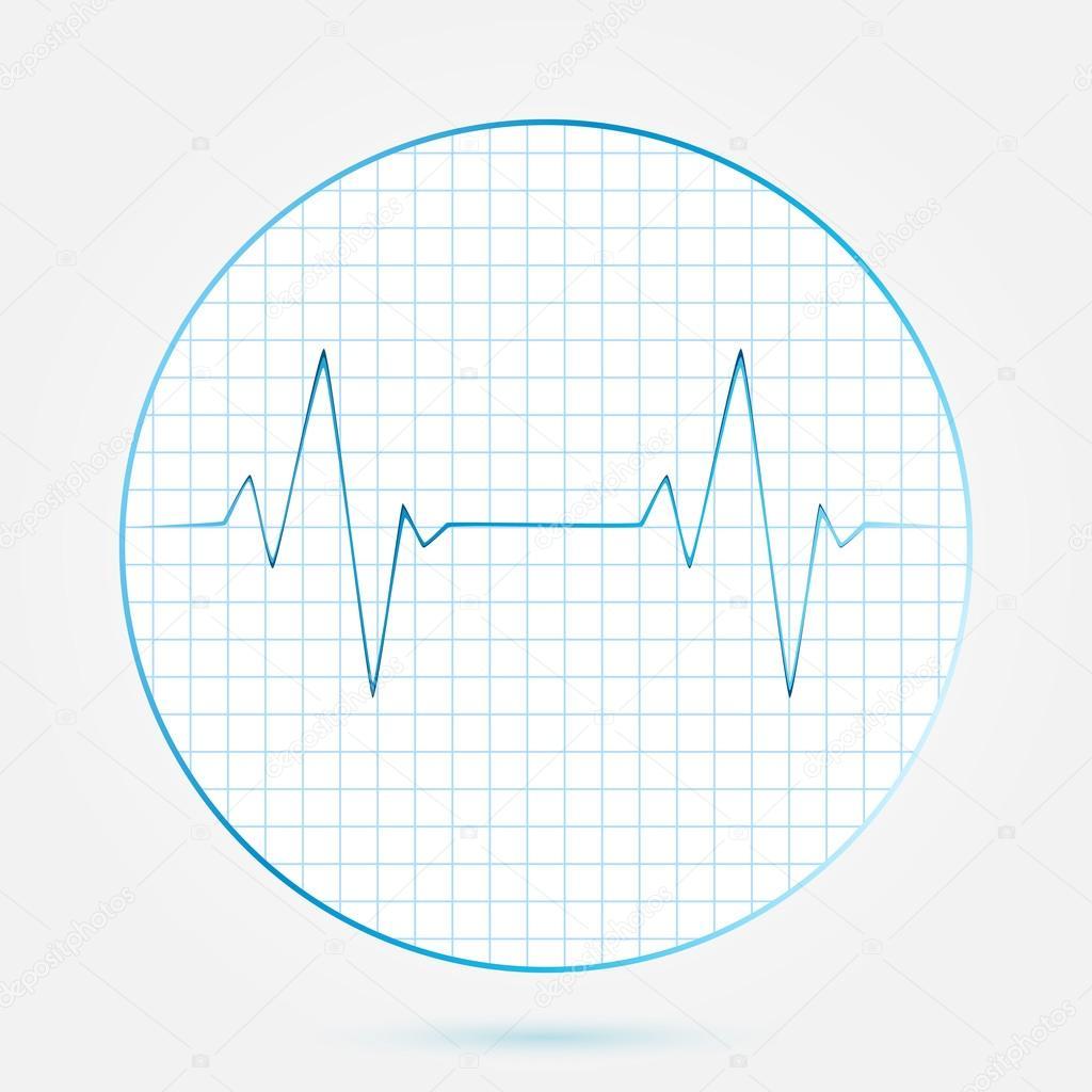 Vector heart beats cardiogram blue icon