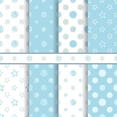 Cute baby vector patterns set - seamless boy blue texture