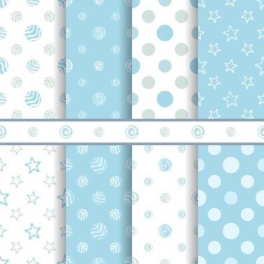 Cute baby vector patterns set - seamless boy blue texture clip art vector