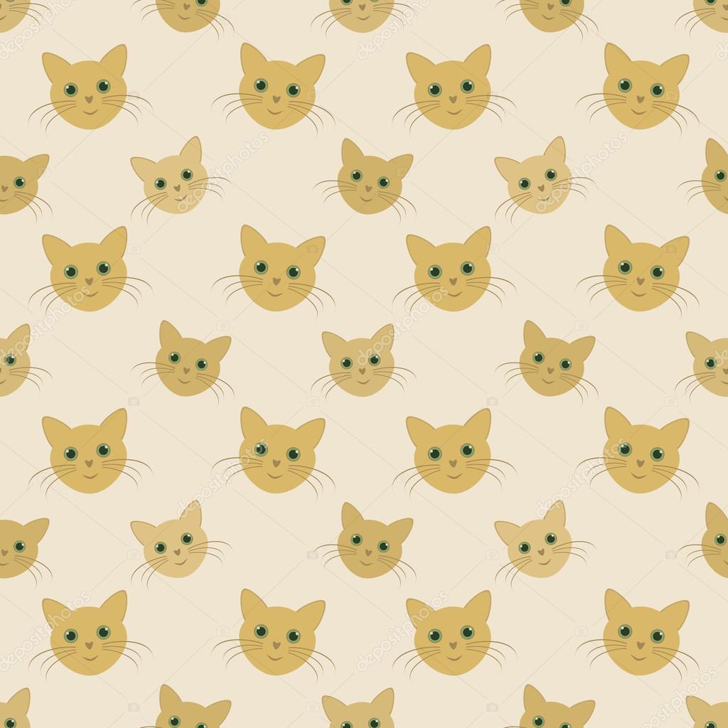 caras de gatos amarillos - patrón sin costuras niño vector — Vector ...