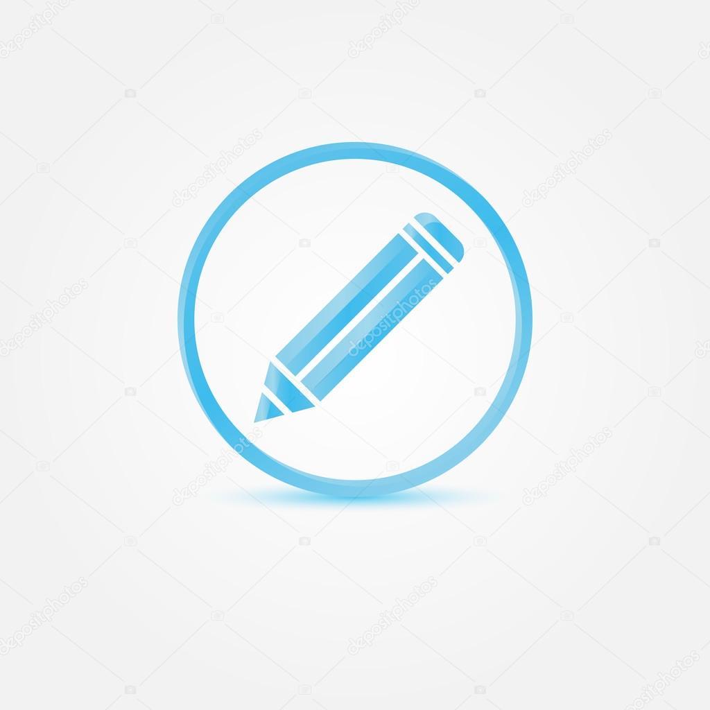 icono de lápiz de vectores - vector azul Resumen símbolo de escritor ...