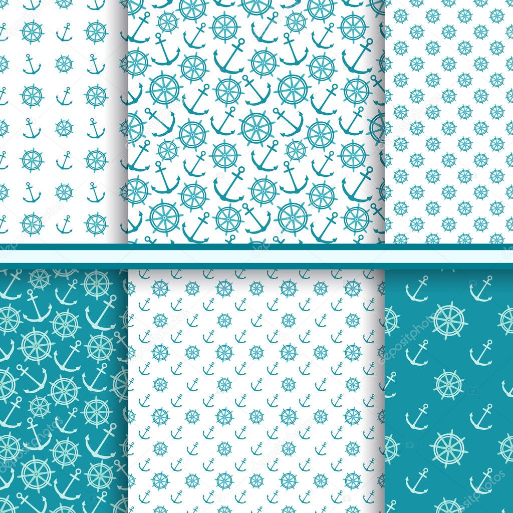 Vector set of seamless sea patterns