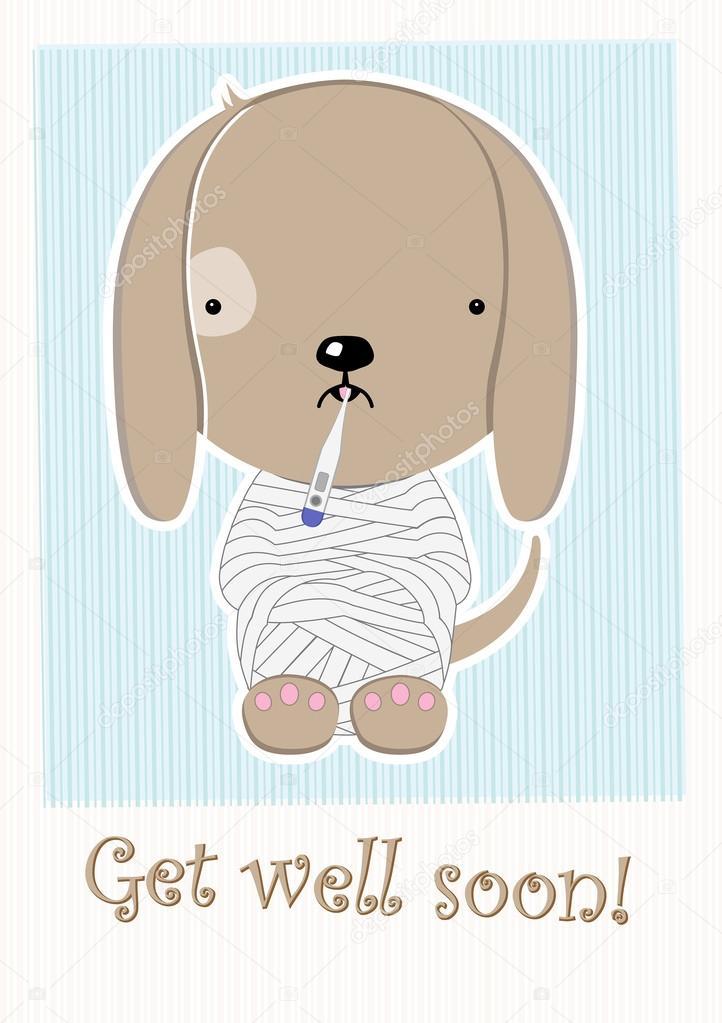 cute poor sick doggy get well soon postcard stock vector