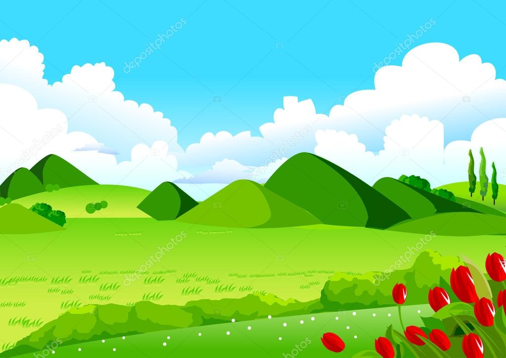Blue Sky, Green Fields and Distant Hills