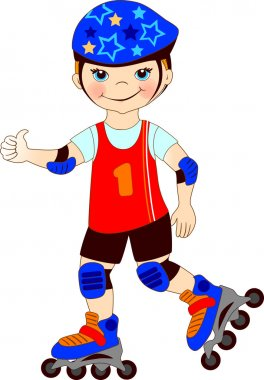 The boy skates on roller-skaters