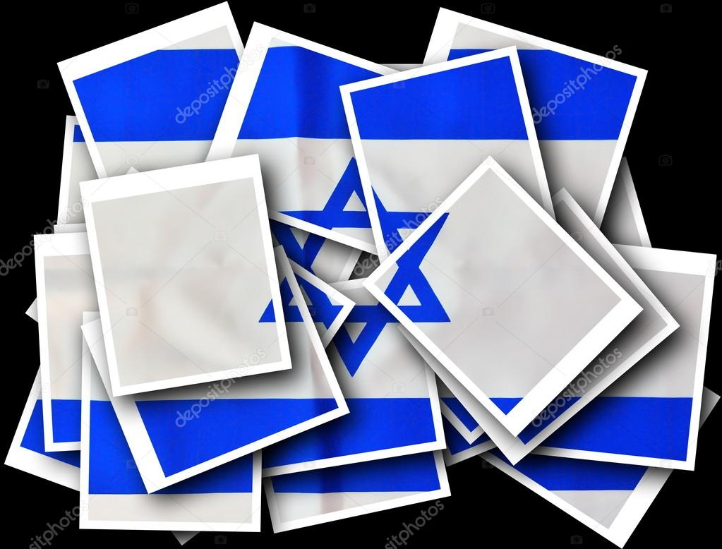 Israel Flag on Independence Day - Polaroid Collage