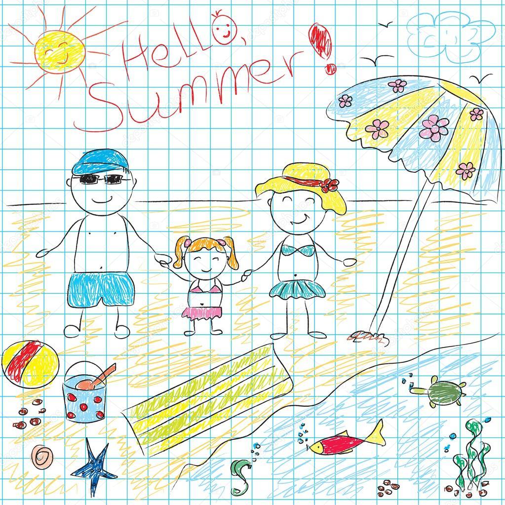 çocuk çizim Gelecek Yaz Tatili Stok Vektör Arnica83 44693223