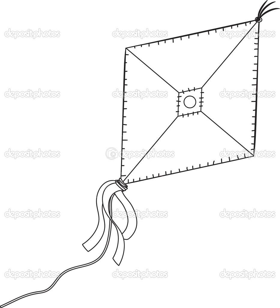 una cometa aislada sobre el fondo blanco — Archivo Imágenes ...