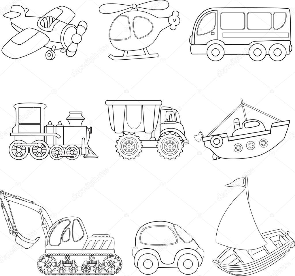 Karikatür Taşıma Boyama Kitabı Stok Vektör Arnica83 44860469