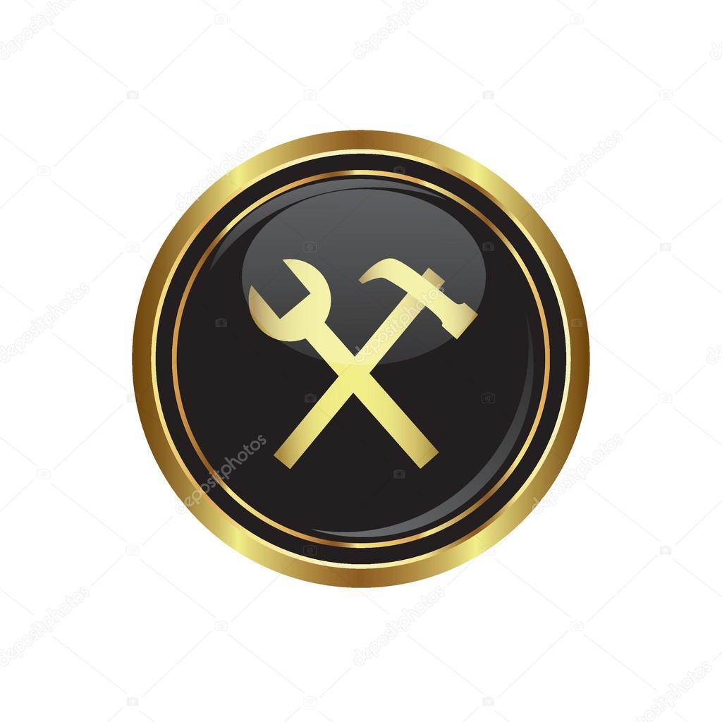Tool icon on the black with gold round button