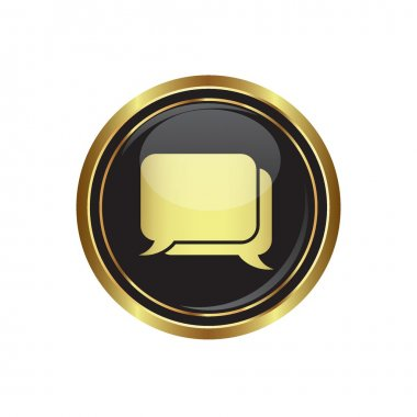 Speech bubbles icon on the black with gold round button