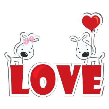 Funny dogs' couple in love. Sticker. Vector illustration clip art vector