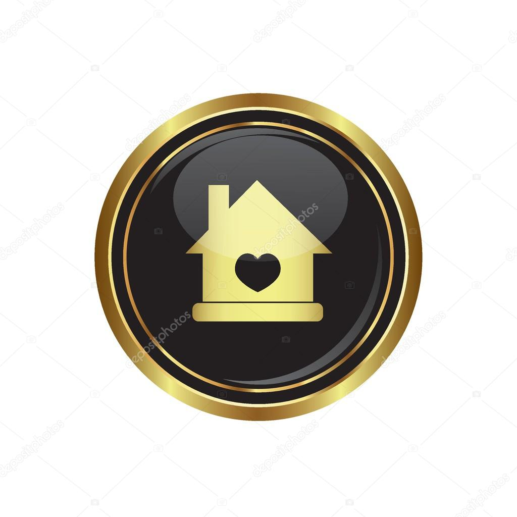 Home icon with heart icon on the black with gold round button