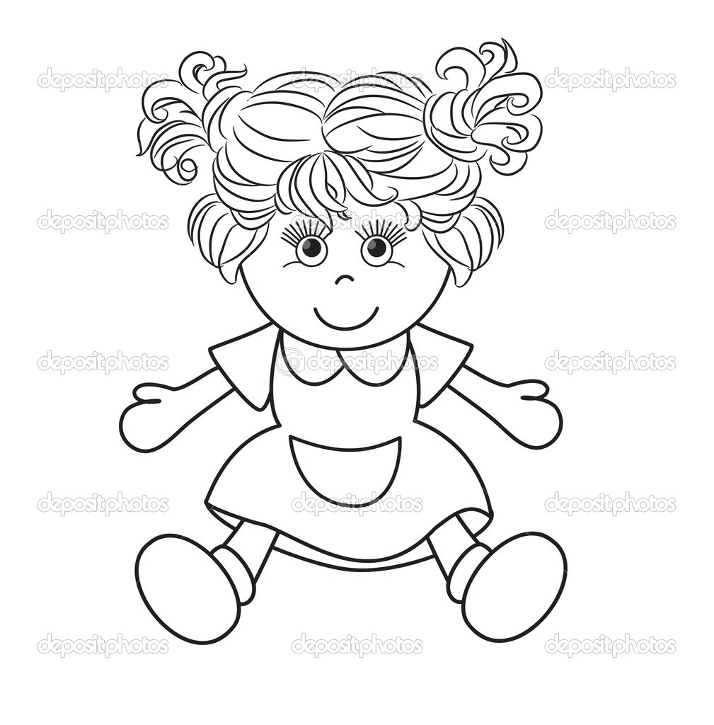 Outlined Girl Doll Toy Stock Vector C Arnica83 44929637