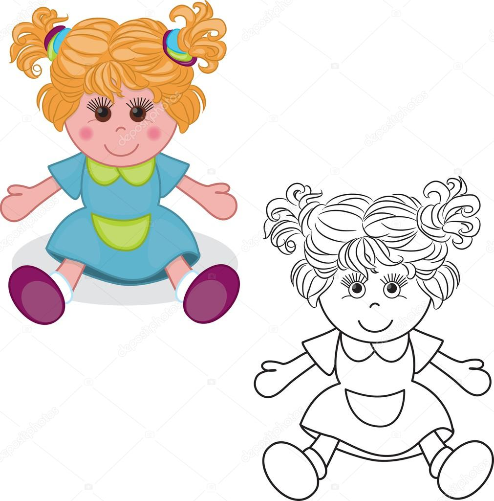 Coloring Book Girl Doll Toy Stock Vector C Arnica83 44934051