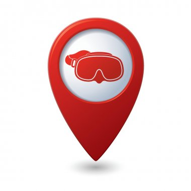 Map pointer with diving mask icon