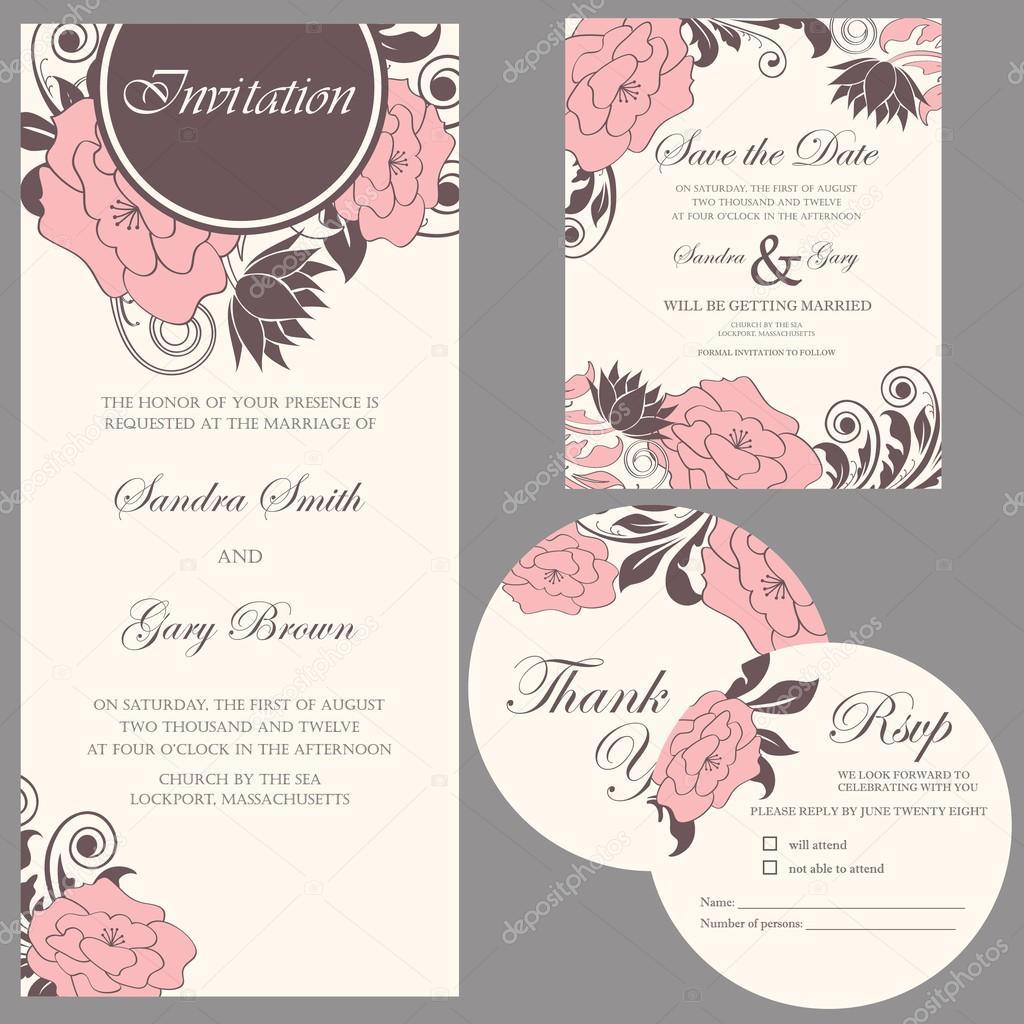 tarjetas de invitacin de boda vintage hermoso conjunto u vector de stock